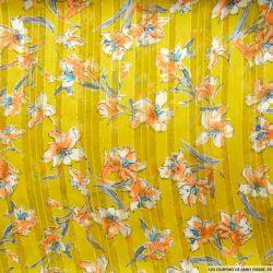 Tissu Dévoré rayé lurex imprimé fleurs fond moutarde