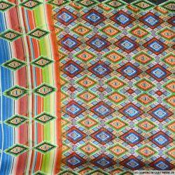 Tissu Dévoré rayé lurex imprimé losanges multicolores
