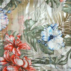 Tissu Dévoré rayé lurex imprimé monsteras et fleurs bleues