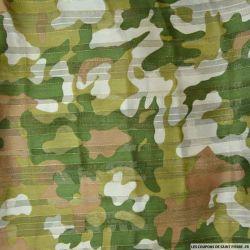 Tissu Dévoré rayé lurex imprimé équestre fond rouge
