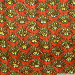 Tissu Dévoré rayé lurex imprimé oeil à plume fond rouge