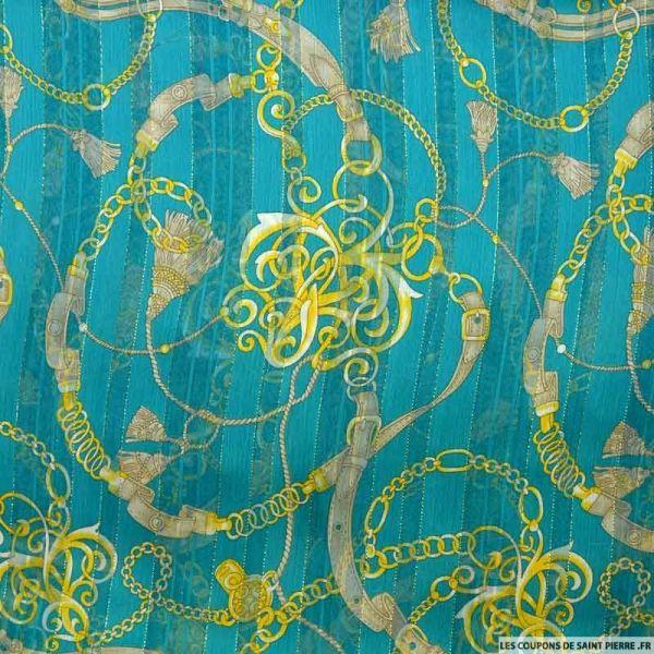 Tissu Dévoré rayé lurex imprimé équestre fond turquoise