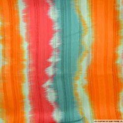 Tissu Dévoré rayé lurex imprimé tie and dye orange