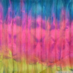 Tissu Dévoré rayé lurex imprimé tie and dye rose