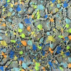 Tissu Dévoré rayé lurex imprimé tâches fond reptile