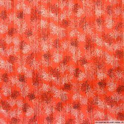Tissu Dévoré rayé lurex imprimé coraux fond corail