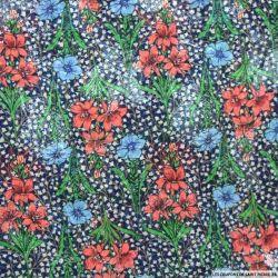 Microfibre imprimée fleurs rouges et bleues et brillant