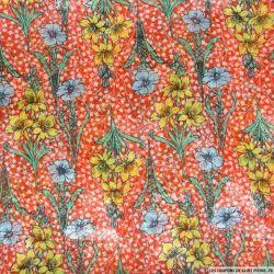 Mousseline imprimée fleurs bleues, jaunes et brillant