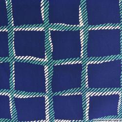 Microfibre imprimée à carreaux vert fond marine