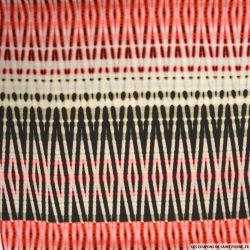Microfibre imprimée zigzag corail et noir fond écru