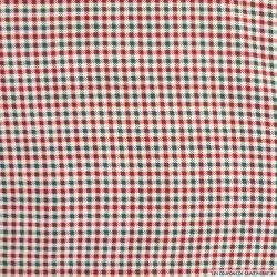 Microfibre imprimée à carreaux vert et rouge fond blanc