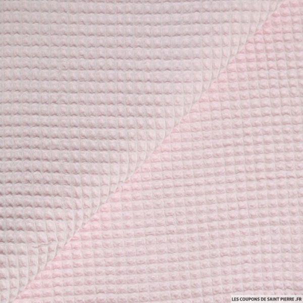 Coton nid d'abeille rose clair