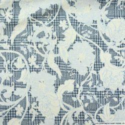 Maille coton élasthane imprimé fleurs fond prince de galles bleu