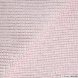 Coton nid d'abeille rose clair au mètre