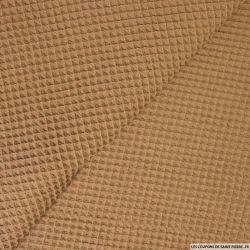 Coton nid d'abeille marron au mètre