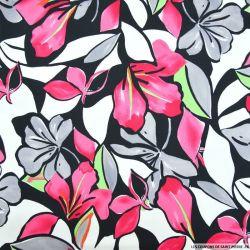 Satin de coton élasthane imprimé jardin aquarelle fuchsia
