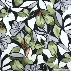 Satin de coton élasthane imprimé jardin aquarelle vert