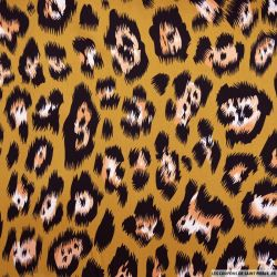 Satin de coton élasthane imprimé léopard fond camel