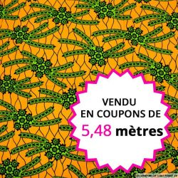 Wax africain cactus fond orange, vendu en coupon de 5,48 mètres