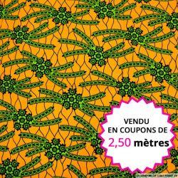 Wax africain cactus fond orange, vendu en coupon de 2,50 mètres