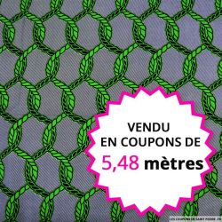Wax africain cordage vert, vendu en coupon de 5,48 mètres