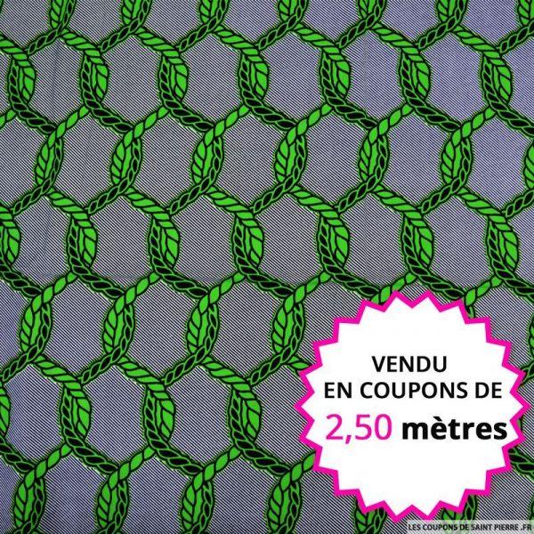 Wax africain cordage vert, vendu en coupon de 2,50 mètres