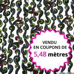 Wax africain écume fond blanc, vendu en coupon de 5,48 mètres