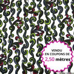 Wax africain écume fond blanc, vendu en coupon de 2,50 mètres