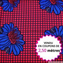 Wax africain fleurs bleu fond fuchsia, vendu en coupon de 2,50 mètres