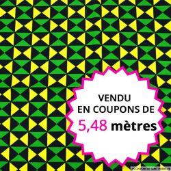 Wax africain triangle jaune et vert, vendu en coupon de 5,48 mètres