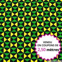 Wax africain triangle jaune et vert, vendu en coupon de 2,50 mètres