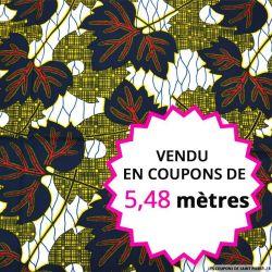 Wax africain feuilles d'automne, vendu en coupon de 5,48 mètres