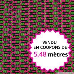 Wax africain flèche indienne fuchsia, vendu en coupon de 5,48 mètres