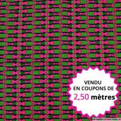Wax africain flèche indienne fuchsia, vendu en coupon de 2,50 mètres