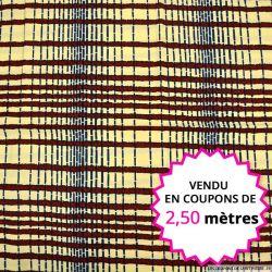 Wax africain corde bordeaux fond vanille, vendu en coupon de 2,50 mètres