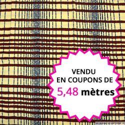 Wax africain corde bordeaux fond vanille, vendu en coupon de 5,48 mètres