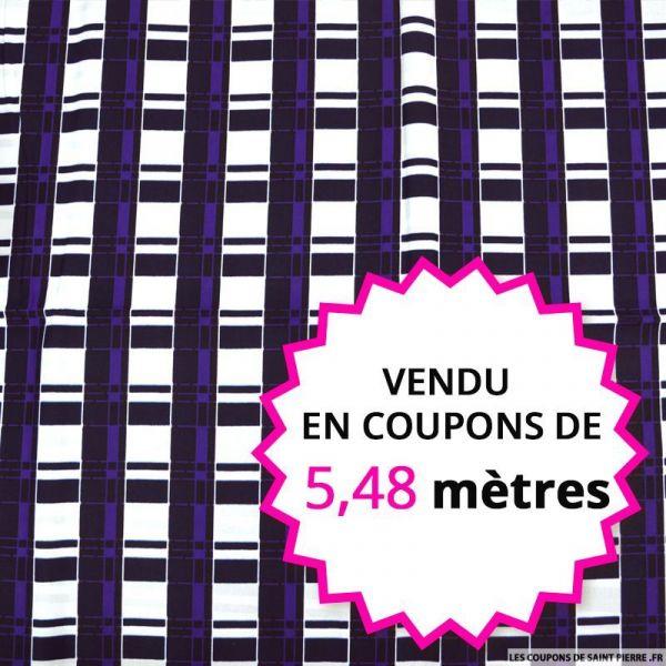 Wax africain quadrillage violet fond blanc, vendu en coupon de 5,48 mètres