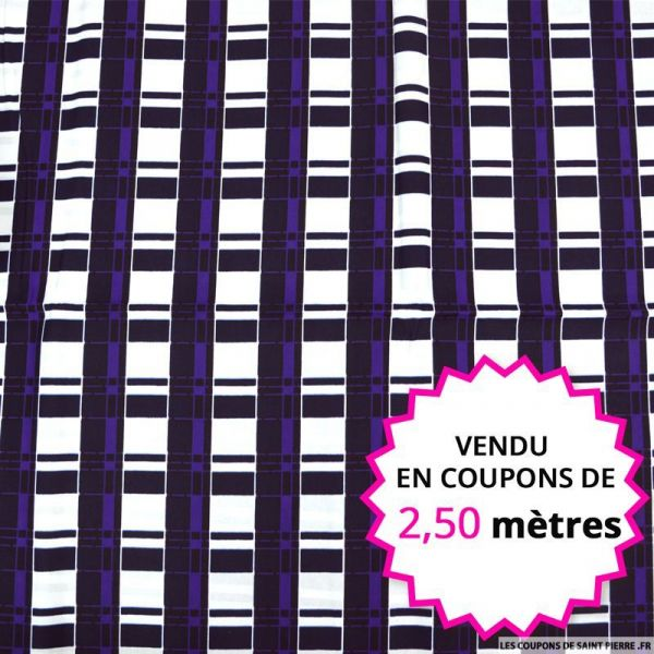 Wax africain quadrillage violet fond blanc, vendu en coupon de 2,50 mètres