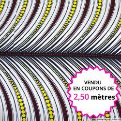 Wax africain plume fond blanc, vendu en coupon de 2,50 mètres