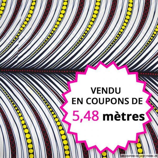 Wax africain plume fond blanc, vendu en coupon de 5,48 mètres