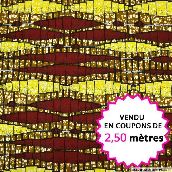 Wax africain mécanisme bordeaux et jaune, vendu en coupon de 2,50 mètres