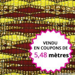 Wax africain mécanisme bordeaux et jaune, vendu en coupon de 5,48 mètres