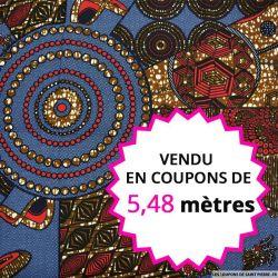 Wax africain diamants marine et bordeaux, vendu en coupon de 5,48 mètres