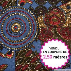 Wax africain cravate indigo, vendu en coupon de 2,50 mètres
