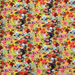 Jersey coton élasthane imprimé printemps fleuri fond jaune