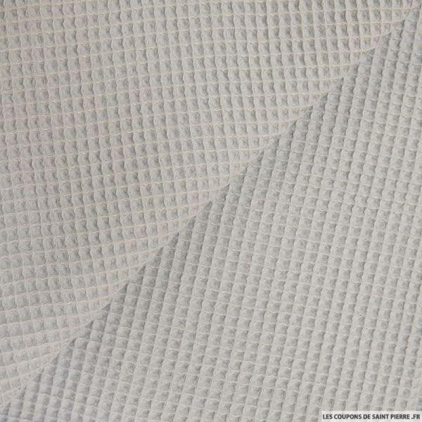 Coton nid d'abeille gris au mètre