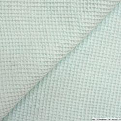 Coton nid d'abeille celadon au mètre