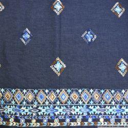 Jean's coton fin brodé losanges bleues et marrons