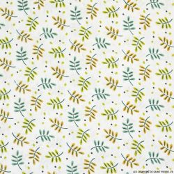 Coton imprimé feuillage vert fond blanc