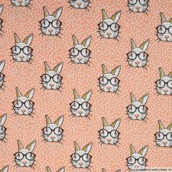 Coton imprimé lapin à lunettes fond corail